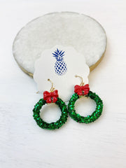 Glitter Christmas Wreath Dangle Earrings