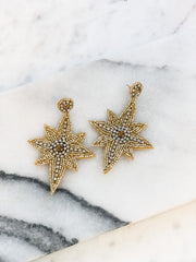 Glitzy Beaded North Star Statement Earrings - Gold