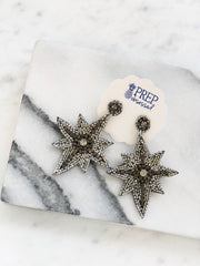 Glitzy Beaded North Star Statement Earrings - Silver