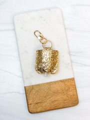 Hand Sanitizer/Air Pod Case Key Chain - Gold Glitter