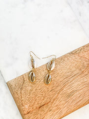 Gold Puka Shell Dangle Earrings