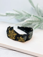 Gold Snowflakes Top Knot Headband