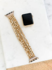 Stretch Beaded Bracelet Watch Band - Matte Gold