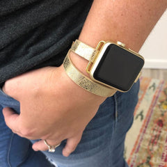 Gold Leather Wrap Watch Band