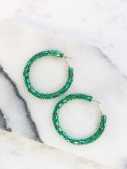 Glitzy Baguette Hoop Earrings - Green