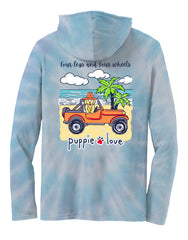 'Four Legs and Four Wheels' Tie Dye Long Sleeve Tee by Puppie Love - Hoodie (Ships in 2-3 Weeks)