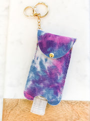 Hand Sanitizer Key Chain - Purple Tie Dye Denim