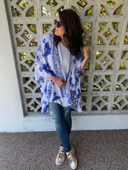 Helen White and Blue Printed Kimono