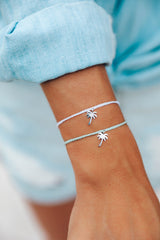 Silver Palm Tree Charm Bracelet by Pura Vida - 2 Colors Available