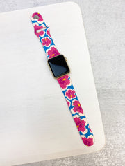 Hibiscus Printed Silicone Smart Watch Band