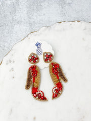 Beaded High Heel Statement Earrings