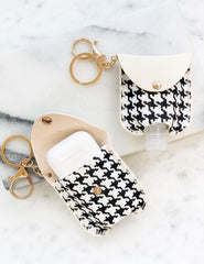 Hand Sanitizer & Air Pod Case Key Chain - Houndstooth