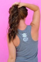 Pineapple Monogram Racerback Tank (3-4 Week Production Time)