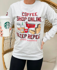 'Coffee Shop Online Sleep Repeat' Long Sleeve Tee by Simply Southern