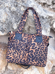 Puffer Messenger Bag - Brown Leopard