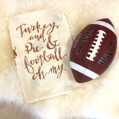 Turkey and Pie and Football Thanksgiving Kitchen Towel