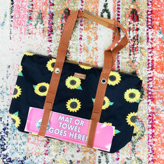 Sunflower Print Beach Bag by Simply Southern
