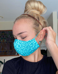 Adult Printed Face Mask - Teal Leopard