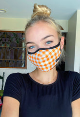 Fall Adult Face Covering by Simply Southern - Orange Gingham
