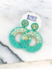 Lonnie Beaded Statement Circle Dangles - Mint