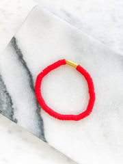 Gold Bar Flat Beaded Bracelets - Red