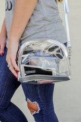Silver Half Moon Clear Crossbody
