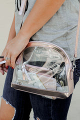 Rose Gold Half Moon Clear Crossbody