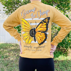 'Become The Change' Butterfly Long Sleeve Tee by Simply Southern