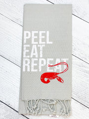 'Peel Eat Repeat' Crawfish Hand Towel