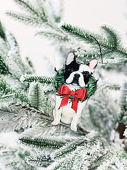 'Christmas Frenchie' Dog Ornament by PBK