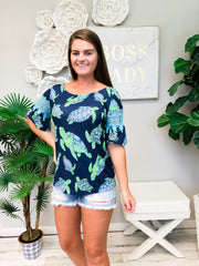 Lace Sleeve Top by Simply Southern - Turtles