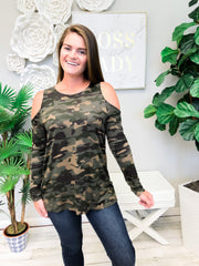 Trish Cold Shoulder Tunic by Mud Pie - Camo