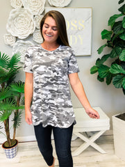 Rae Jersey Top by Mud Pie - White Camo