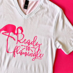 Ready to Flamingle Vneck Graphic Tee at Prep Obsessed