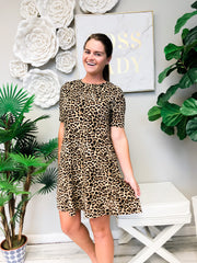 Deavon Leopard Print Half Sleeve Pocket Dress