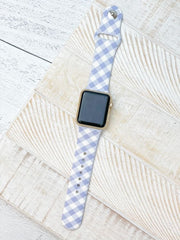 Gingham Printed Silicone Smart Watch Band - Purple