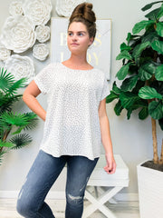 Polka Dot Round Neck Woven Top - White