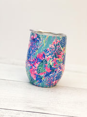 Stainless Steel Wine Glass with Lid by Lilly Pulitzer - Beach You To It