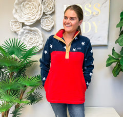 'Stars' Patriotic Fleece Pullover by Simply Southern