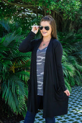 Slouchy Pocket Open Cardigan - Black