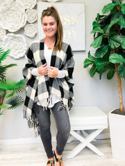 White Buffalo Check Plaid Open Poncho