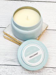 Volcano Signature Printed Aqua Travel Tin Candle by Capri Blue