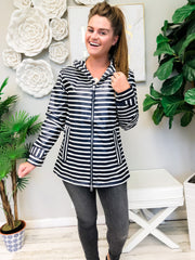 New Englander Rain Jacket by Charles River Apparel  - Navy/White Stripe
