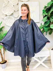 One Size Pack-N-Go Poncho by Charles River Apparel  - Navy Polka Dot