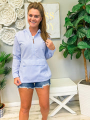 Bar Harbor Pullover by Charles River Apparel - Blue Seersucker