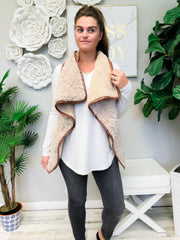 Taupe Sherpa Vest by Simply Southern
