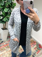Gray Leopard Open Front Cardigan by Simply Southern