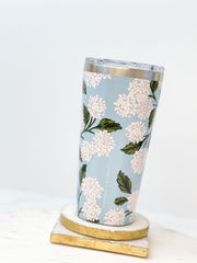 16 oz Stainless Steel Tumbler by Corkcicle x Rifle Paper Co. - Blue Hydrangea