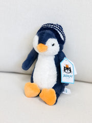 Bashful Bobble Hat Penguin Stuffed Animal by Jellycat - Navy