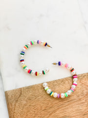 Twyla Pearl and Multi Color Beaded Disc Hoops